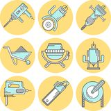 Flat line colored icons for construction equipment Royalty Free Stock Images