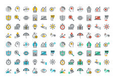 Flat line colorful icons collection of business and finance