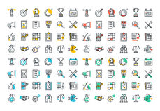 Flat line colorful icons collection of corporate business Royalty Free Stock Image