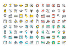 Flat line colorful icons collection of creative process. Design, art, movie, making and editing of photography, literature, painting, product development Royalty Free Stock Photos
