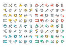 Flat line colorful icons collection of dental services Royalty Free Stock Images