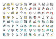Flat line colorful icons collection of e-learning Stock Photos