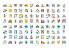 Flat line colorful icons collection of education Royalty Free Stock Photo