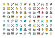 Flat line colorful icons collection of graphic and web design