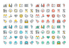 Flat line colorful icons collection of healthcare services Stock Photography