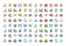 Flat Line Colorful Icons Collection Of Hotel Services Royalty Free Stock Image
