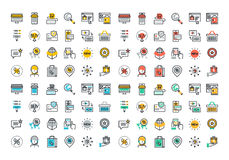 Flat line colorful icons collection of online shopping vector illustration