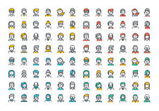 Flat line colorful icons collection of people avatars. For profile page, social network, social media, different age man and woman characters, professional vector illustration