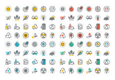 Flat line colorful icons collection of recycling Royalty Free Stock Photo