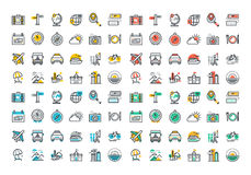 Flat line colorful icons collection of travel and tourism