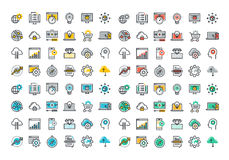 Flat line colorful icons collection of website and app development. Seo, website maintenance, online security, cloud computing, web programming process, API Stock Photography