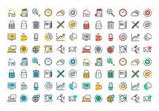 Flat line colorful icons collection of website main elements Royalty Free Stock Image