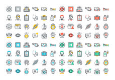 Flat line colorful icons set of healthcare and medicine Royalty Free Stock Image