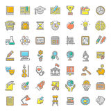 Flat Line Colorful School Subjects Icons. Set of modern flat line colorful vector icons of school subjects, activities, education and science symbols. Concepts Royalty Free Stock Images