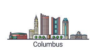Flat line Columbus banner. Banner of Columbus city in flat line trendy style. Columbus city line art. All buildings separated and customizable Royalty Free Stock Photography