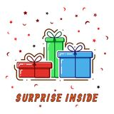 Flat line concept Gift boxes, surprise inside, vector.  Royalty Free Stock Images