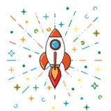 Flat line concept of startup roket.  royalty free illustration
