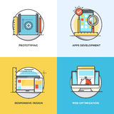 Flat line Concepts design 11. Modern flat color line designed concepts icons for Prototyping, Apps Development, Responsive Design and Web Optimization. Can be stock illustration