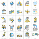 Flat line conceptual icons set of banking, finance Stock Photo