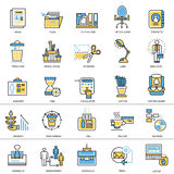 Flat line conceptual icons set of business office Royalty Free Stock Photo