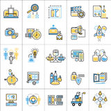 Flat line conceptual icons set of digital and video marketing Stock Photo