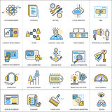 Flat line conceptual icons set of seo and development. Modern flat linear concept pictogram, set outline symbol for websites, mobile websites and apps Stock Images