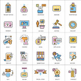 Flat line conceptual icons set of shopping and retail commerce Stock Photography