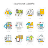 Flat line conceptual stages set icons, objects and tools. Preparation, construction and repair. Modern flat linear concept of the icon, symbol set for websites Royalty Free Stock Image