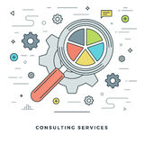 Flat line Consulting Services Concept Vector illustration. Modern thin linear stroke vector icons. Stock Image