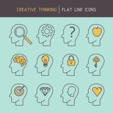 Flat line creative thinking Stock Photo