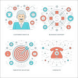 Flat line Customer Services, Support, Target Solution, Business Success Concepts Set Vector illustrations. Stock Image