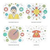 Flat line Customer Services, Support, Target Solution, Business Success Concepts Set Vector illustrations. Royalty Free Stock Images
