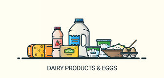 Flat line dairy products banner Royalty Free Stock Images