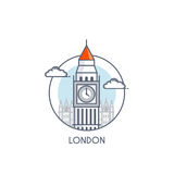 Flat line deisgned icon - London Royalty Free Stock Photography