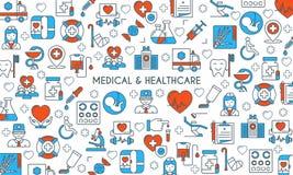 Flat line design medical banner. Flat line design banner on medical theme. Health insurance, medical service, healthcare, cardiology, pharmacy, medical equipment Royalty Free Stock Photo