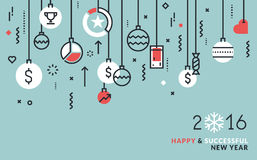 Flat line design business concept for New Year's greeting card. Web banner and marketing material Stock Photography