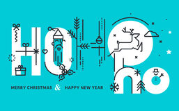 Flat line design Christmas and New Year's vector illustration Royalty Free Stock Image
