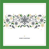 Flat line design Christmas vector illustration for greeting card Royalty Free Stock Photography