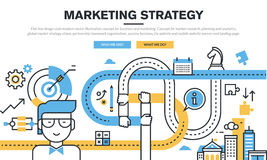 Flat line design concept for business and marketing. Market research, planning and analytics, marketing strategy, partnership teamwork organization, success stock illustration