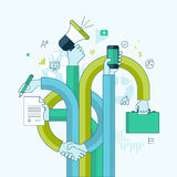 Flat line design concept for business and marketin Royalty Free Stock Photos