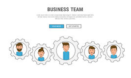 Flat line design concept for business People teamwork, used for web banners, hero images, printed materials. Royalty Free Stock Image