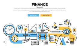 Flat line design concept for finance Royalty Free Stock Photos