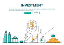 Flat line design concept of financial and investment with icons. And elements. Can be used for book cover, report header, presentation,infographics, printing Stock Image