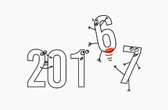 2017 flat line design concept for greeting card and banner. Funny cartoon interpretation to the outgoing 2016. black and. White vector illustration isolated on Stock Photography
