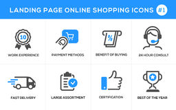Flat line design concept icons for online shopping, website banner and landing page. Flat line design concept icons online shopping, e-commerce m-commerce Royalty Free Stock Photos