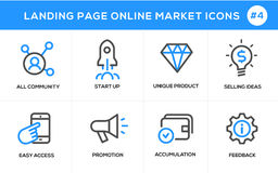 Flat line design concept icons for online shopping, website banner and landing page Royalty Free Stock Images