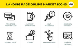 Flat line design concept icons for online shopping, website banner and landing page Stock Image