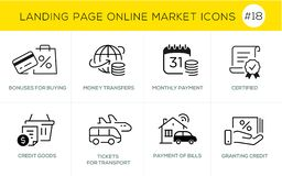 Flat line design concept icons for online shopping, website banner and landing page stock photo