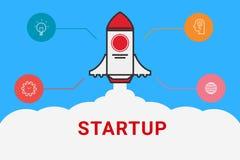 Flat line design concept for Start up. Flat rocket. Business start up. Royalty Free Stock Image