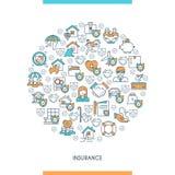 Concept on theme insurance. Flat line design concept on theme insurance. Insurance of life, house, money, health, car. Vector illustration Stock Images